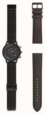Breil | orologio da uomo in maglia d'acciaio nero cinturino intercambiabile | TW1808