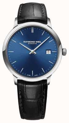 Raymond Weil Cinturino in pelle nera quadrata con quadrante blu 5485-STC-50001