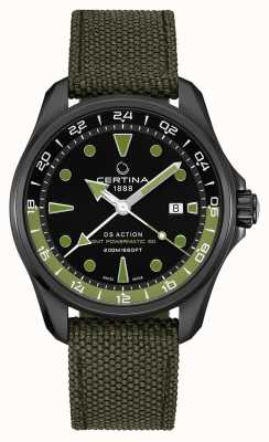 Certina Mens ds action gmt powermatic 80 quadrante verde cinturino nero C0324293805100