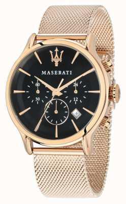 Maserati Cronografo Epoca quadrante nero cinturino in oro rosa pvd R8873618005