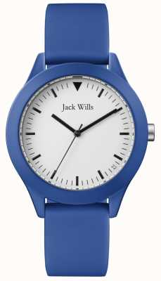 Jack Wills | cinturino in gomma blu da uomo | quadrante bianco | JW009BTBL