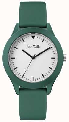 Jack Wills | cinturino in gomma verde da uomo | quadrante bianco | JW009GRGR