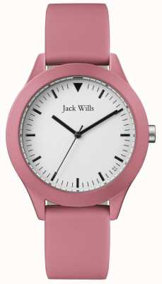 Jack Wills | cinturino in gomma rosa da uomo | quadrante bianco | JW009JWPK