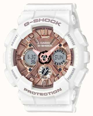 Casio | g-shock bianco e oro rosa | analogico e digitale | GMA-S120MF-7A2ER