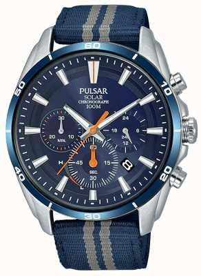 Pulsar Quadrante blu da uomo con cinturino in nylon blu cronografo PZ5089X1