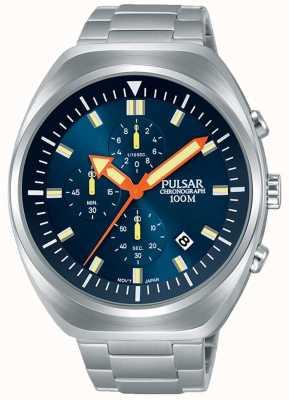 Pulsar Bracciale cronografo da uomo in acciaio inossidabile con quadrante blu PM3085X1