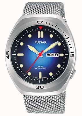 Pulsar Cinturino in pelle di acciaio inossidabile con quadrante blu in acciaio inossidabile PJ6097X2