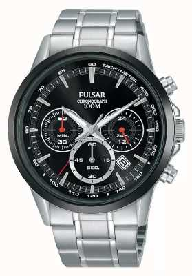Pulsar Bracciale cronografo da uomo in acciaio inossidabile con quadrante nero PT3913X1