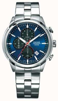 Pulsar Bracciale cronografo da uomo in acciaio inossidabile con quadrante blu PM3115X1