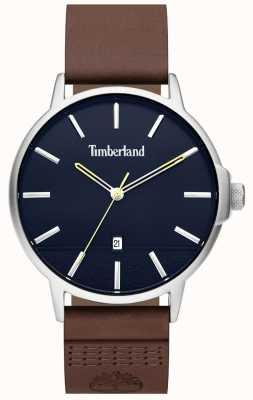 Timberland | mens rollinsford | cinturino in pelle marrone | quadrante blu | 15637JYS/03