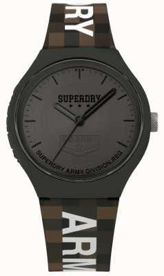 Superdry | uomo urbano xl | cinturino in silicone bicolore | grigio canna di fucile SYG251E