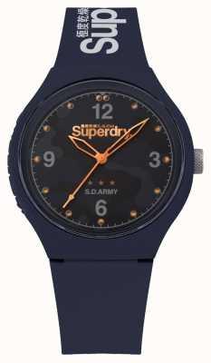Superdry | uomo urbano xl | cinturino in silicone blu | quadrante blu | SYG254U