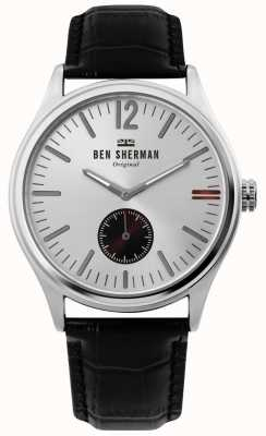 Ben Sherman | mens harrison city | quadrante argento | pelle nera di coccodrillo | WB035B