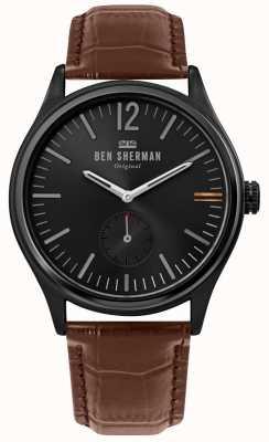 Ben Sherman | mens harrison city | quadrante nero | pelle di coccodrillo marrone | WB035T