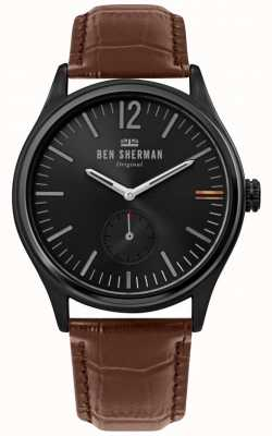 Ben Sherman | mens harrison city | quadrante nero | pelle di coccodrillo marrone | WB035T