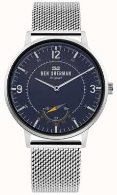 Ben Sherman | mens portobello patrimonio | quadrante blu | maglia d'argento | WB034USM
