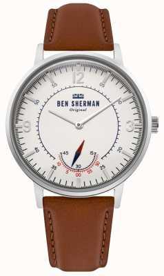 Ben Sherman | mens portobello patrimonio | fuori dal quadrante bianco | pelle marrone | WB034T