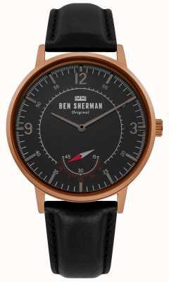 Ben Sherman | mens portobello patrimonio | quadrante nero | pelle nera | WB034B