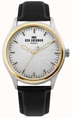 Ben Sherman | mens harrison | cinturino in pelle nera | quadrante argento | WB036B