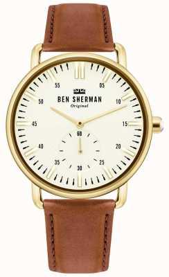 Ben Sherman | mens città brighton | cinturino in pelle marrone | quadrante bianco | WB033TG