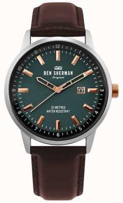 Ben Sherman | uomo daltrey professionale | pelle marrone | quadrante verde | WB030NT