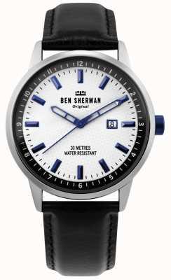 Ben Sherman | uomo daltrey professionale | pelle nera | quadrante bianco | WB030B