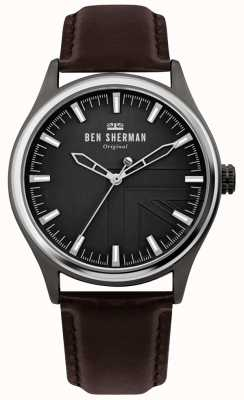 Ben Sherman | mens harrison | cinturino in pelle marrone | quadrante nero | WB036T
