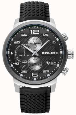 Police | uomo bromo | cinturino in silicone nero | quadrante nero | 15657JSTU/02P