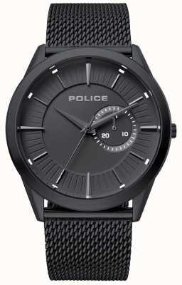 Police | mens helder | cinturino in maglia nera | quadrante nero | 15919JSB/02MM
