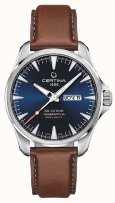 Certina | ds action day-date powermatic 80 | quadrante blu | cinturino marrone C0324301604100