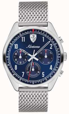 Scuderia Ferrari | uomo abetone | quadrante blu | braccialetto in maglia d'argento | 0830572