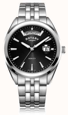 Rotary | mens henley | quadrante nero | bracciale in acciaio inossidabile | GB05290/04