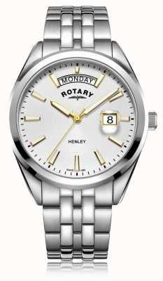 Rotary   mens henley   quadrante bianco   bracciale in acciaio inossidabile GB05290/70