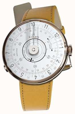Klokers Cinturino singolo giallo Klok 08 per orologio bianco KLOK-08-D1+KLINK-01-MC7.1