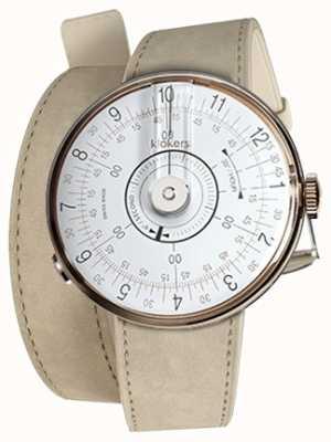 Klokers Cinturino doppio in alcantara grigio testa di orologio bianco Klok 08 KLOK-08-D1+KLINK-02-380C6