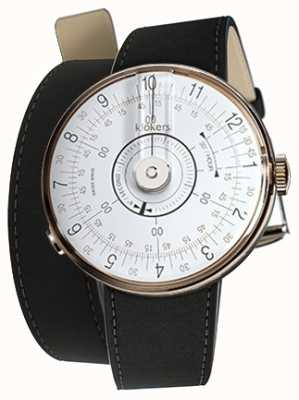 Klokers Doppio cinturino per orologio bianco Klok 08 nero opaco 420mm KLOK-08-D1+KLINK-02-420C2