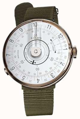 Klokers Cinturino singolo Klok 08 con testa di orologio bianca in lichene verde KLOK-08-D1+KLINK-03-MC2