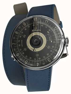 Klokers Klok 08 quadrante nero blu indaco 420mm doppio cinturino KLOK-08-D3+KLINK-02-420C3