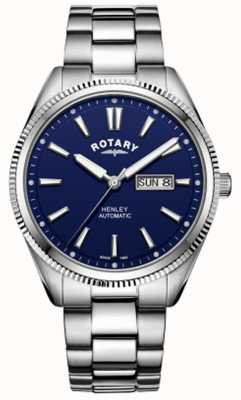 Rotary | mens henley | lunetta seghettata | quadrante blu | acciaio inossidabile GB05380/05