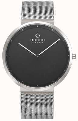 Obaku | mens papir onyx | braccialetto in maglia d'argento | quadrante nero | V230GXCBMC