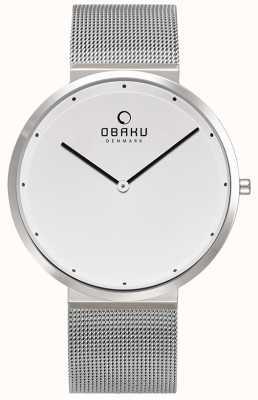 Obaku | mens in acciaio papir | braccialetto in maglia d'argento | quadrante bianco | V230GXCWMC