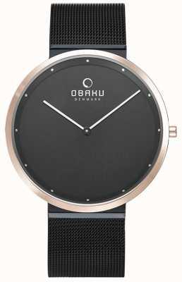 Obaku | mens notte papir | braccialetto a maglie nere | quadrante nero | V230GXMBMB