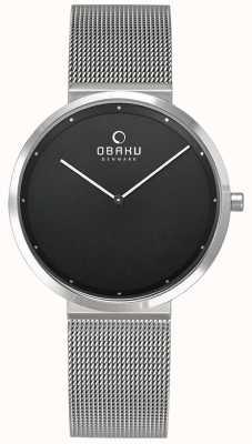Obaku | da donna papir lillie onyx | braccialetto a maglie d'argento | nero V230LXCBMC