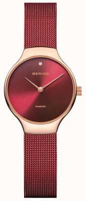 Bering | vigilanza di beneficenza delle donne | cinturino a rete rosso | quadrante rosso | 13326-CHARITY