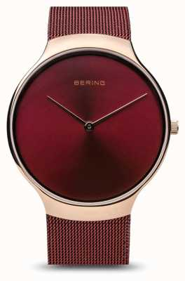 Bering | vigilanza di beneficenza delle donne | cinturino a rete rosso | quadrante rosso | 13338-CHARITY