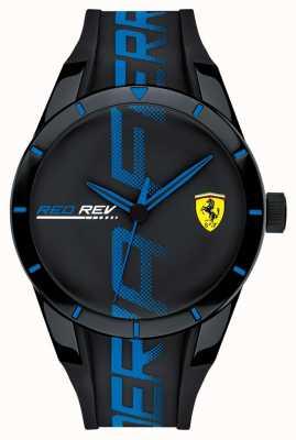Scuderia Ferrari | risanamento maschile | cinturino in silicone nero blu | quadrante nero | 0830616