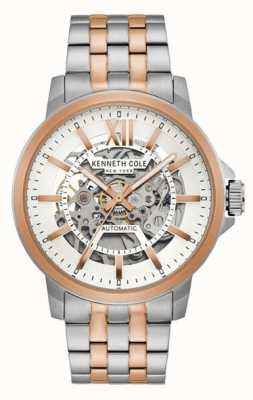 Kenneth Cole | mens automatico | acciaio inossidabile bicolore | quadrante argentato | KC50779006