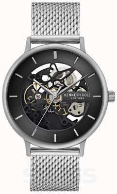 Kenneth Cole | uomo automatico | bracciale a maglie d'acciaio | quadrante nero | KC50780005