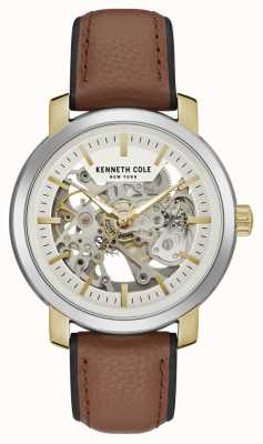 Kenneth Cole | mens automatico | pelle marrone | quadrante scheletro argento | KC50776005