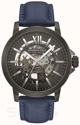 Kenneth Cole | mens automatico | pelle blu | quadrante canna di fucile | KC50779002